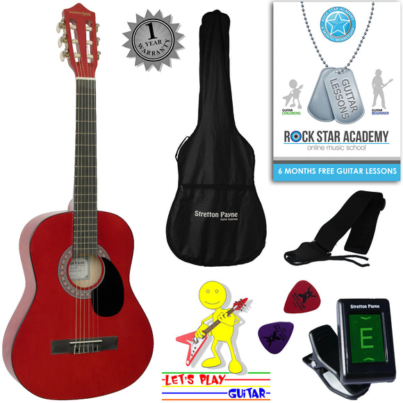 CLEARANCE - Graded C Acoustic Guitar Package 3/4 Sized (36' inch) Classical Nylon String Childs Guitar Pack (Age 7 to 11) Red