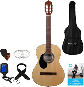 Stretton Payne LEFT HANDED Classical Guitar Full Size 4/4 (39' inch) Spanish Style Classical Acoustic Guitar Package Nylon Strings, Acoustic Guitar Pack Natural
