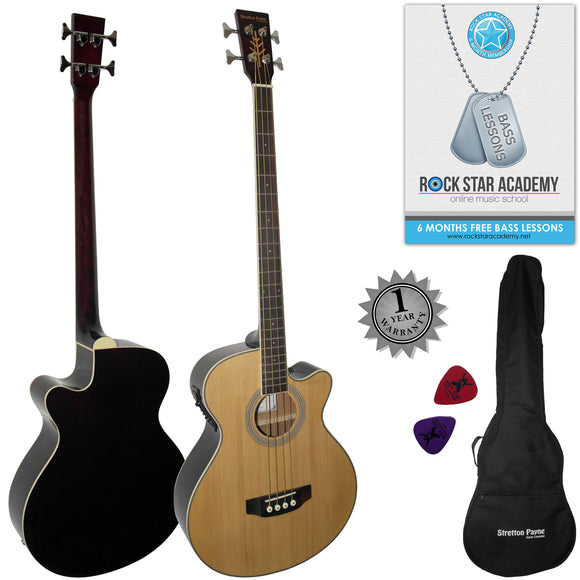 CLEARANCE - Graded C Stretton Payne Electro Acoustic Bass Guitar. Spruce Top Rosewood Fretboard