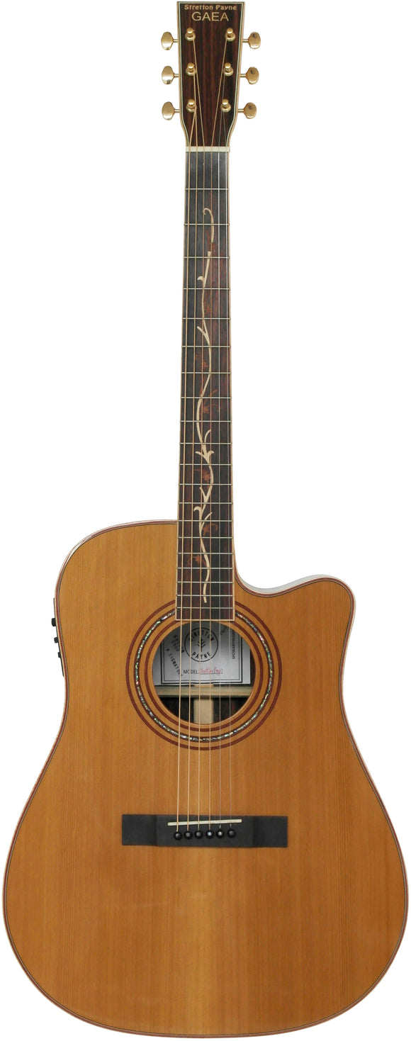 Stretton Payne Custom Shop EARTH 500CE Dreadnought Acoustic Guitar, Size 41 inches, Solid Cedar Top, Rosewood Back, Rosewood Sides. Fretboard Inlay. Cutaway body. Electro Acoustic plug in pick-up.
