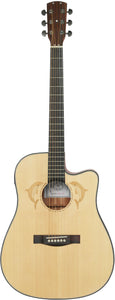 Stretton Payne Custom Shop SURF D300CE Dreadnought Acoustic Guitar, Size 41 inches, Solid Spruce Top, Mahogany Back, Mahogany Sides. Cutaway body. Electro Acoustic plug in pick-up.