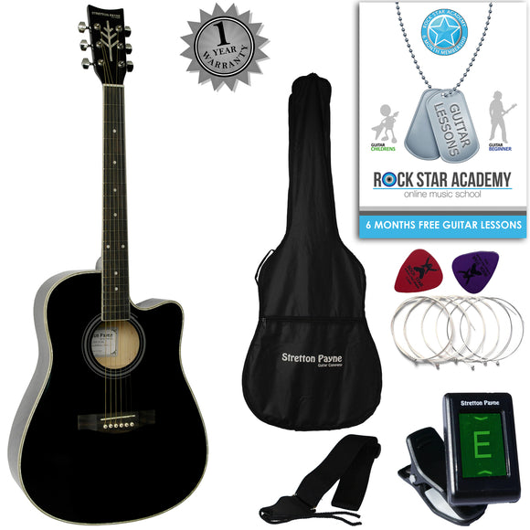 Stretton Payne D4-C Dreadnought Cutaway Acoustic Guitar 41 inch all Linden Body, Gig Bag, Electronic Tuner, Plectrums, Spare Strings, Strap and Online Guitar Lessons. Guitar in Black