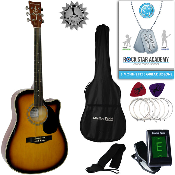 CLEARANCE - Graded B Stretton Payne D4-C Dreadnought Cutaway Acoustic Guitar 41 inch all Linden Body, Gig Bag, Electronic Tuner, Plectrums, Spare Strings, Strap and Online Guitar Lessons. Guitar in Sunburst