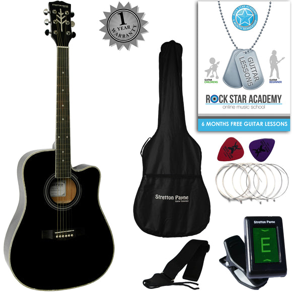 CLEARANCE - Graded C Stretton Payne D8-C Dreadnought Cutaway Acoustic Guitar 41 inch Spruce Top, all Linden Body, Gig Bag, Electronic Tuner, Plectrums, Spare Strings, Strap and Online Guitar Lessons. Guitar in Black