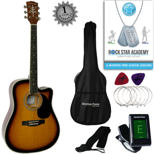 CLEARANCE - Graded C Stretton Payne D8-C Dreadnought Cutaway Acoustic Guitar 41 inch Spruce Top, Linden Body, Gig Bag, Electronic Tuner, Plectrums, Spare Strings, Strap and Online Guitar Lessons. Guitar in Sunburst