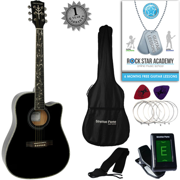CLEARANCE - Graded B Stretton Payne D9-C Dreadnought Cutaway Acoustic Guitar 41 inch Spruce Top, all Linden Body, Gig Bag, Electronic Tuner, Plectrums, Spare Strings, Strap and Online Guitar Lessons. Guitar in Black