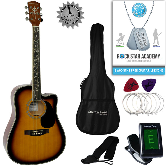 CLEARANCE - Graded B Stretton Payne D9-C Dreadnought Cutaway Acoustic Guitar 41 inch Spruce Top, all Linden Body, Gig Bag, Electronic Tuner, Plectrums, Spare Strings, Strap and Online Guitar Lessons. Guitar in Sunburst