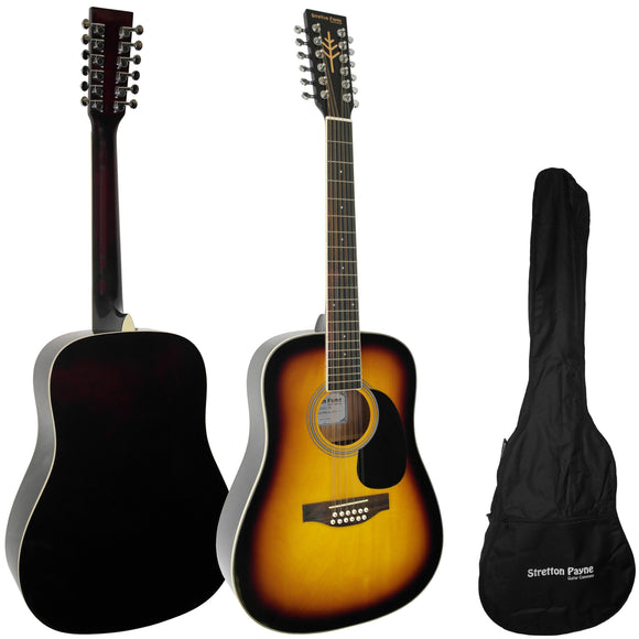 CLEARANCE - Graded B Stretton Payne Dreadnought 12 String Acoustic Guitar Spruce and Mahogany with 3mm Padded Gig Bag Sunburst