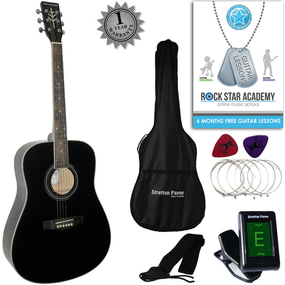 CLEARANCE - Graded AB Stretton Payne Dreadnought Full Sized Steel String Acoustic Guitar PACKAGE D1 Black