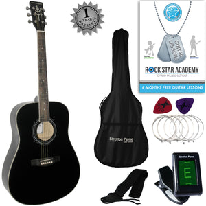 CLEARANCE - Graded C Stretton Payne Dreadnought Full Sized Steel String Acoustic Guitar PACKAGE D1 Black