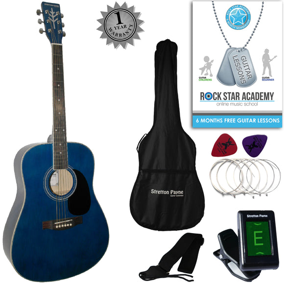 CLEARANCE - Graded AB Stretton Payne Dreadnought Full Sized Steel String Acoustic Guitar PACKAGE D1 Blue