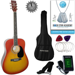 CLEARANCE - Graded AB Stretton Payne Dreadnought Full Sized Steel String Acoustic Guitar PACKAGE D1 Cherry Burst