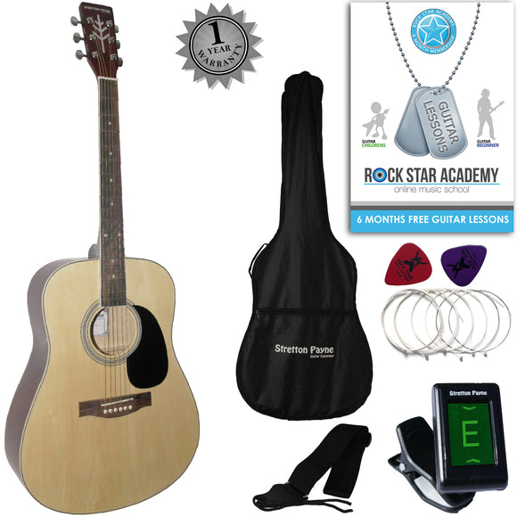 CLEARANCE - Graded AB Stretton Payne Dreadnought Full Sized Steel String Acoustic Guitar PACKAGE D1 Natural