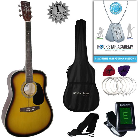 CLEARANCE - Graded C Stretton Payne Dreadnought Full Sized Steel String Acoustic Guitar PACKAGE D1 Sunburst