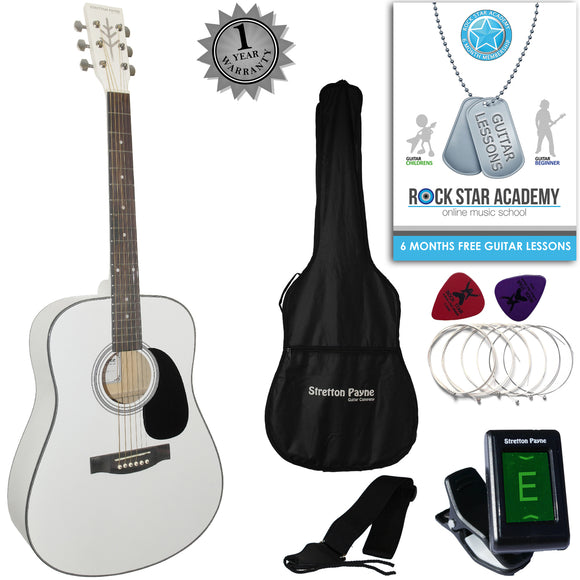CLEARANCE - Graded B Stretton Payne Dreadnought Full Sized Steel String Acoustic Guitar PACKAGE D1 White