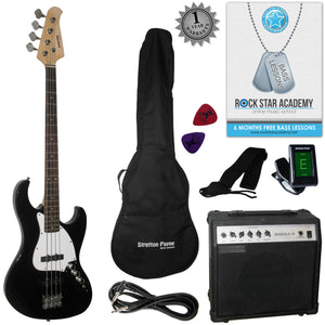 Stretton Payne Electric BASS Guitar J-Bass Maple Neck Full Package. Bass Guitar in Black.