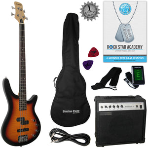 Stretton Payne Electric BASS Guitar C-Bass Maple Neck Full Package. Bass Guitar in Sunburst.
