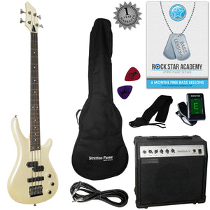 Stretton Payne Electric BASS Guitar S-Bass Maple Neck Full Package. Bass Guitar in Pearl White.