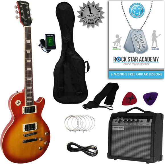 Stretton Payne LP Style Electric Guitar Package with Amplifier, Padded Bag, Strap, Lead, Plectrums, Tuner, Spare Strings and Online Guitar Lessons. Guitar in Cherryburst