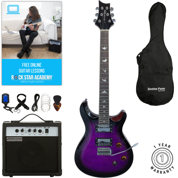 Stretton Payne RS Electric Guitar with practice amplifier, padded bag, strap, lead, plectrum, tuner, spare strings. Guitar in Purpleburst