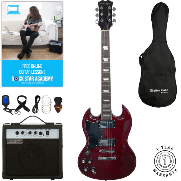 Stretton Payne LEFT HAND SG Electric Guitar with practice amplifier, padded bag, strap, lead, plectrum, tuner, spare strings. Guitar in Wine Red