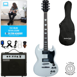 Stretton Payne SG Electric Guitar with practice amplifier, padded bag, strap, lead, plectrum, tuner, spare strings. Guitar in White