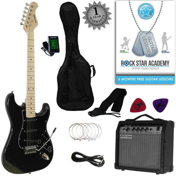 Stretton Payne Strat Style Electric Guitar Package with Amplifier, Padded Bag, Strap, Lead, Plectrums, Tuner, Spare Strings and Online Guitar Lessons. Guitar in Black