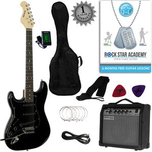 CLEARANCE - Graded C Stretton Payne LEFT HAND Strat Style Electric Guitar Package with Amplifier, Padded Bag, Strap, Lead, Plectrums, Tuner, Spare Strings and Online Guitar Lessons. Guitar in Black