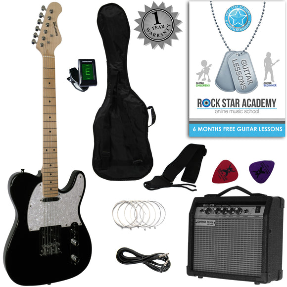 Stretton Payne Tele Style Electric Guitar Package with Amplifier, Padded Bag, Strap, Lead, Plectrums, Tuner, Spare Strings and Online Guitar Lessons. Guitar in Black Maple Neck