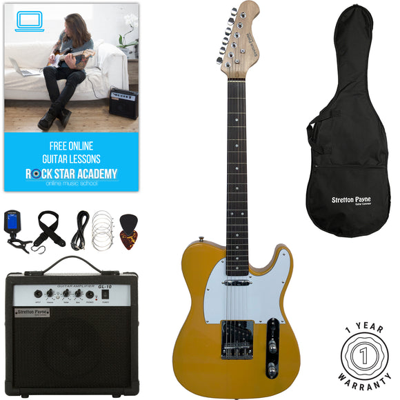Stretton Payne TE Electric Guitar with practice amplifier, padded bag, strap, lead, plectrum, tuner, spare strings. Guitar in Butterscotch