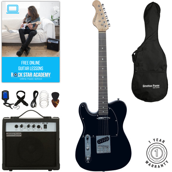 Stretton Payne LEFT HAND TE Electric Guitar with practice amplifier, padded bag, strap, lead, plectrum, tuner, spare strings. Guitar in Black