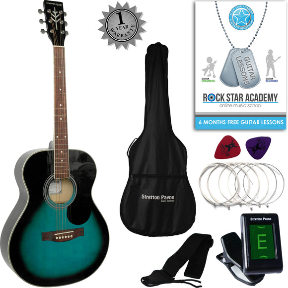 Stretton Payne Travel Acoustic Guitar Package Aquaburst