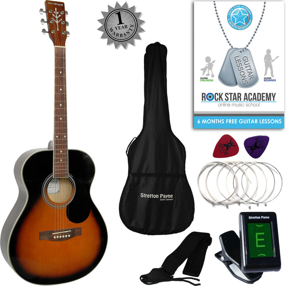 Stretton Payne Travel Acoustic Guitar Package Sunburst