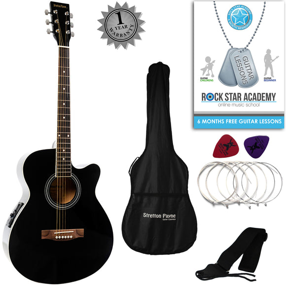 CLEARANCE - Graded C Stretton Payne Grand Auditorium Electro Acoustic Guitar PACKAGE Black