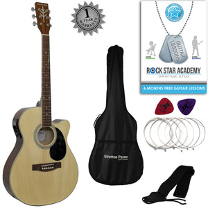 CLEARANCE - Graded C Stretton Payne Grand Auditorium Electro Acoustic Guitar PACKAGE Natural