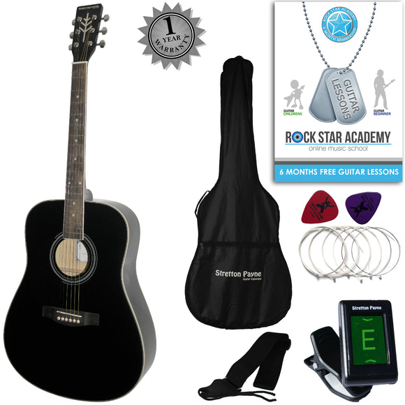 CLEARANCE - Graded AB Stretton Payne LEFT HAND Dreadnought Full Sized Steel String Acoustic Guitar PACKAGE D1 Black