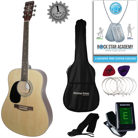 CLEARANCE - Graded B Stretton Payne LEFT HAND Dreadnought Full Sized Steel String Acoustic Guitar PACKAGE D1 Natural