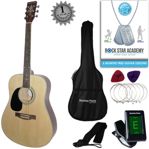 CLEARANCE - Graded AB Stretton Payne LEFT HAND Dreadnought Full Sized Steel String Acoustic Guitar PACKAGE D1 Natural
