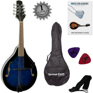 CLEARANCE - Graded B Stretton Payne Mandolin with Gig Bag and Online Beginner Course - Blue Burst