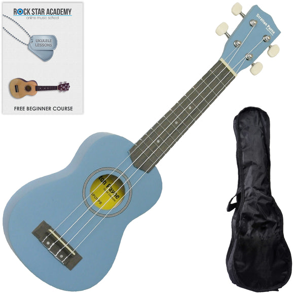 CLEARANCE - Graded AB Soprano Ukulele Lake Placid Blue with Gig Bag and Online Ukulele Course