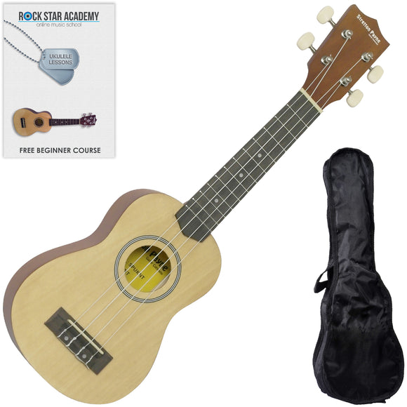 CLEARANCE - Graded C Soprano Ukulele Natural with Gig Bag and Online Ukulele Course