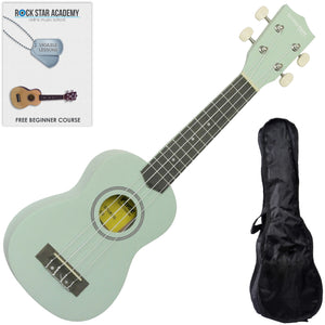 CLEARANCE - Graded C Soprano Ukulele Surf Green with Gig Bag and Online Ukulele Course