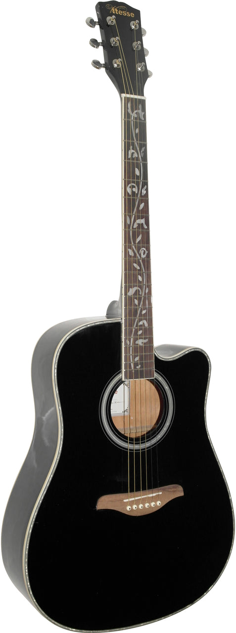 Vitesse Cutaway Acoustic Spruce Top Fret Inlays. Guitar in Black
