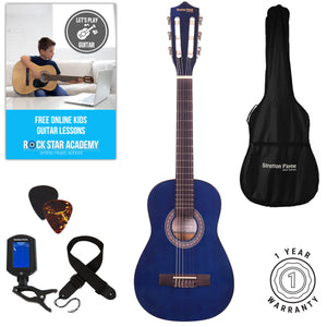 Acoustic Guitar Package 1/4 Sized (31' inch) Classical Nylon String Childs Guitar Pack Blue