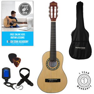 Acoustic Guitar Package 1/4 Sized (31' inch) Classical Nylon String Childs Guitar Pack Natural