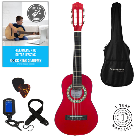 Acoustic Guitar Package 1/4 Sized (31' inch) Classical Nylon String Childs Guitar Pack Red