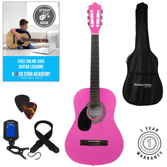 Left Hand Acoustic Guitar Package 3/4 Sized (36' inch) Classical Nylon String Childs Guitar Pack Pink