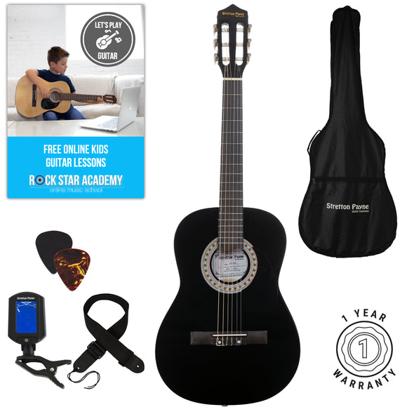 Acoustic Guitar Package 3/4 Sized (36' inch) Classical Nylon String Childs Guitar Pack (Age 7 to 11) Black