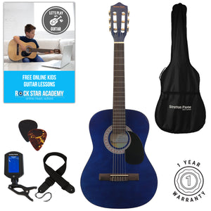Acoustic Guitar Package 3/4 Sized (36' inch) Classical Nylon String Childs Guitar Pack (Age 7 to 11) Blue
