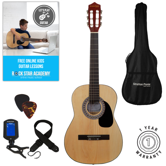 Acoustic Guitar Package 3/4 Sized (36' inch) Classical Nylon String Childs Guitar Pack (Age 7 to 11) Natural